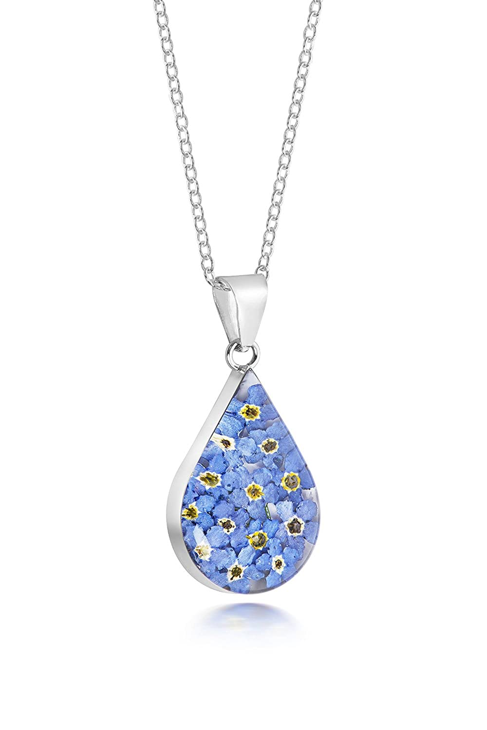 Silver rectangle pendant made with real forget-me-nots - includes an 18