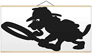 Detective Dog Silhouette - Illustration Dog,Decor Posters Sherlock Holmes for Office 24X12In