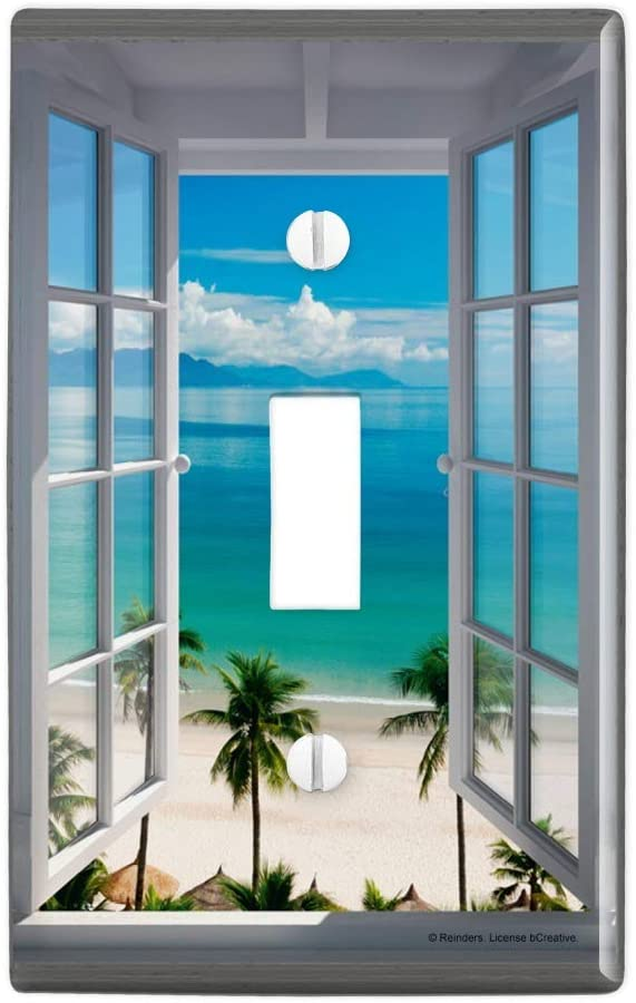GRAPHICS & MORE Tropical Vacation Beach Ocean Window View Plastic Wall Decor Toggle Light Switch Plate Cover