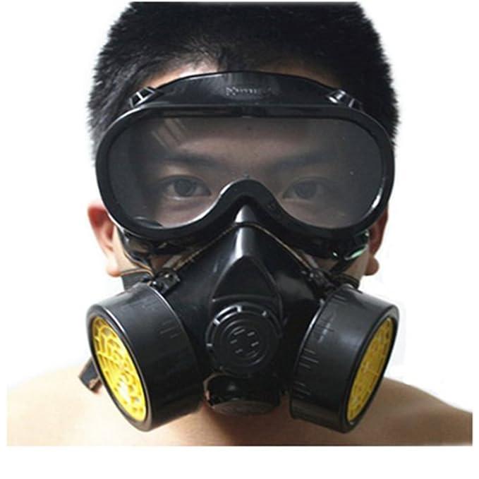 Leeko Mascarilla Respiradora de Gafas- Anti-polvo de Gas Chemical con Doble Cartucho Máscara de Pintura Filtro Gafas Set (Negro): Amazon.es: Bricolaje y ...