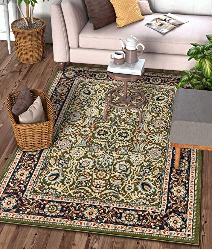 Well Woven Darya Green Modern Sarouk Area Rug Updated Traditional Persian Style 5x7 (5'3