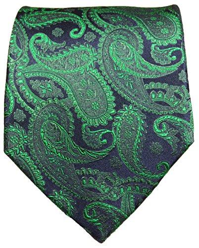 Paul Malone Paisley Necktie 100% Silk Emerald Green