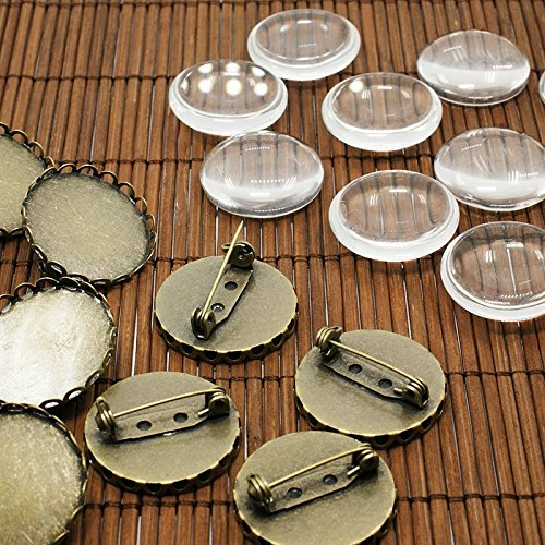 PEPPERLONELY Brand 10 Sets Antiqued Bronze Cabochon Frame Setting Tray Pin Back Brooches with Clear Round Glass Dome Tile Cabochon 25mm (1 Inch)