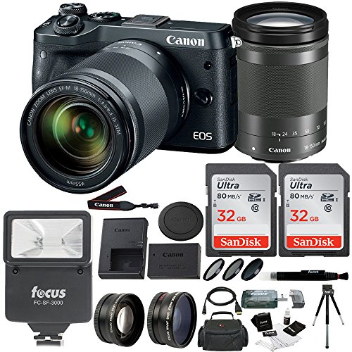 Canon EOS M6 Camera w/18-150mm lens, Flash, Filters, Auxiliary lenses & 48GB Kit