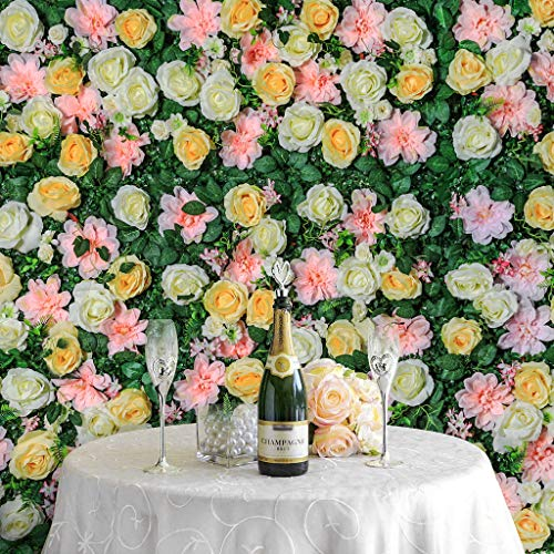 Veryhome Flower Panel Artificial Flower Plant Wall Backdrop Silk Roses Hydrangea Flowers Mat for Wedding Studio Party Background Decoration 16