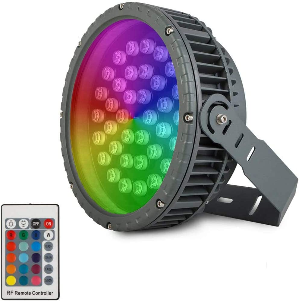 108W RGB Flood Light Wheel Bird's Nest Spotlight Outdoor Waterproof Round Christmas Tree Lights,Excellent Color Changing 108W Wide Pressure LED Flood Light for Outdoor Lighting Projects