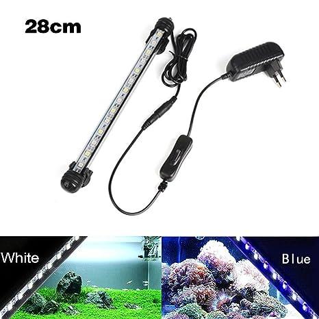 juxinuk 1 unid Acuario Tanque de Peces Azul Clip de Luz Blanca Sumergible Impermeable LED Decoración