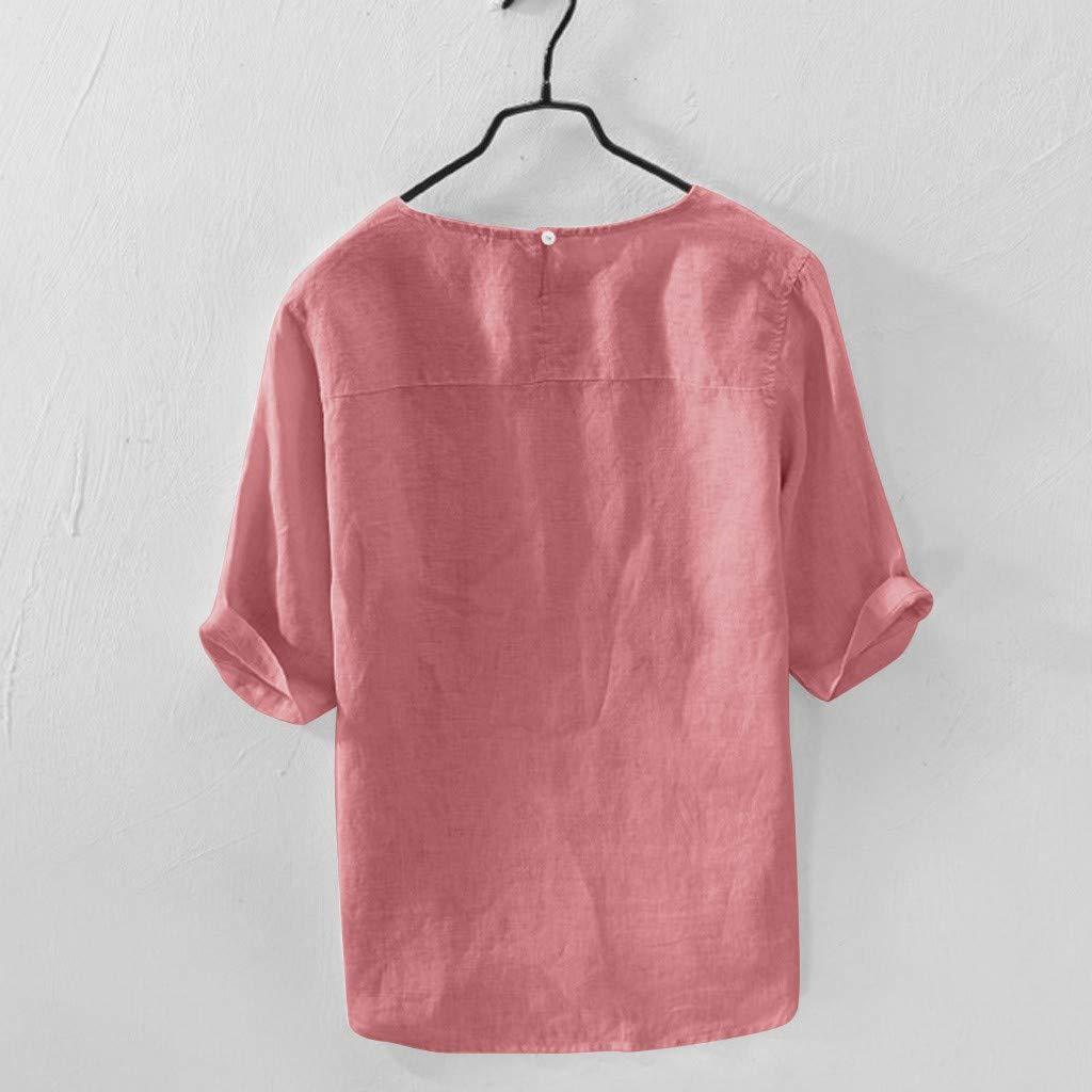 Luckycat Herren Leinen T Shirt Freizeithemd 3//4 /Ärmel M/änner Sommer Hemd Casual Regular Fit Oberteile Herren Hemd /Ärmell/änge /& Kurzarm Henley Leinenhemd aus Baumwollmischung Leinen Shirt Freizeithemd