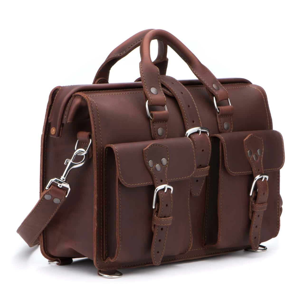 Saddleback Leather Co. Flight Bag 15-inch Full Grain Leather Expandable Laptop Briefcase for Men Includes 100 Year Warranty