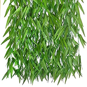 50 Pack Artificial Vine Greenery Garland Faux Silk Willow Rattan Wicker Twig Fake Garland Fake Foliage Flowers Home Kitchen Garden Office Wedding Wall Decor 49