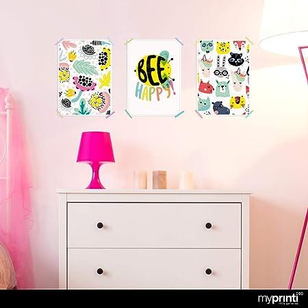 myprinti® Set de 3 Carteles para la habitación de los niños   póster para niños   Muchacha mimar bebé   tamaño DIN A4   Flores, Bee Happy, Abeja, Unicornio