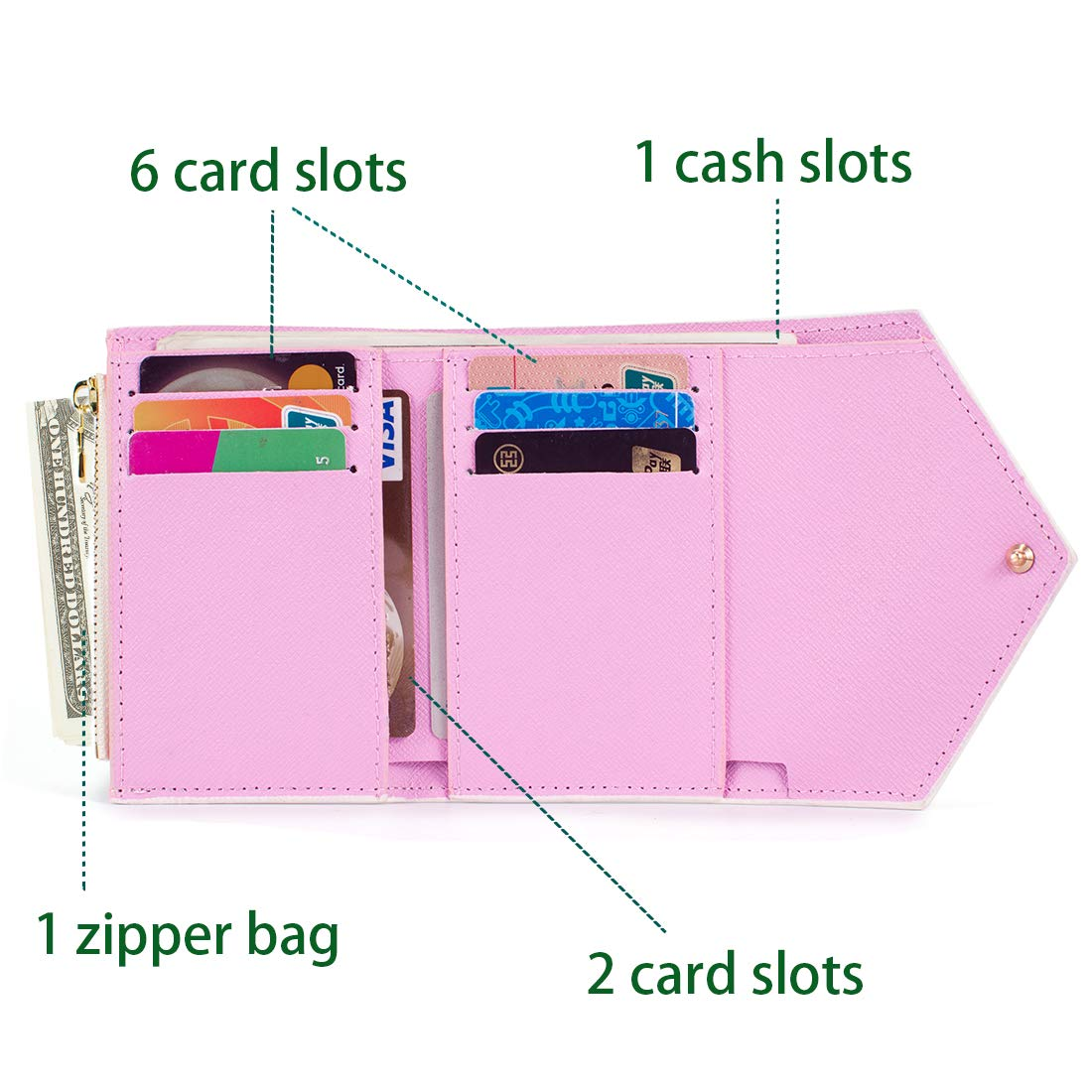 PU Vegan Leather Trifold Wallets for Women Practical Compact Checkered Wallet and Blocking with Card Holder Organizer