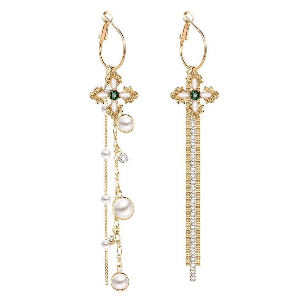 GooNight Hoop Earrings with Long Tassel Asymmetrical Pearl and Cubic Zirconia Jewelry Vintage Style