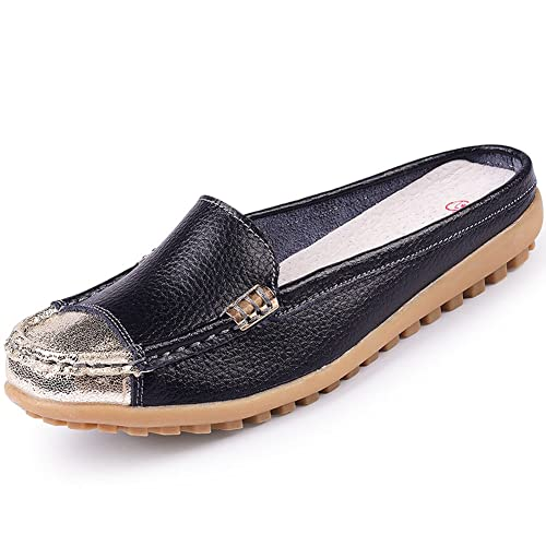 Uown Women's Casual Slip on Mule Shoes Leather Loafers Black 9 ...