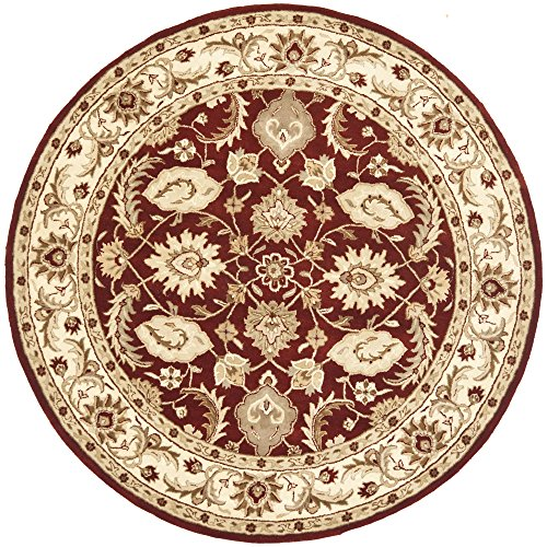Safavieh Royalty Collection ROY244B Handmade Traditional Red and Ivory Wool Round Area Rug (7' - Rug Area Red Royalty