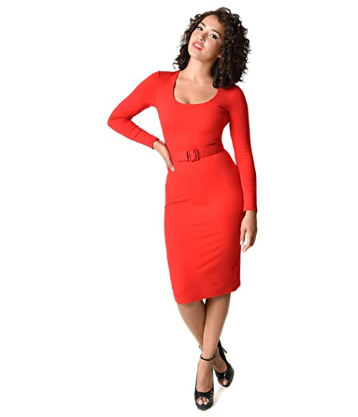 Vixen micheline pitt vintage red long sleeve troublemaker wiggle dress  clothing accessories jpg 522x608 Troublemaker wiggle 506122686