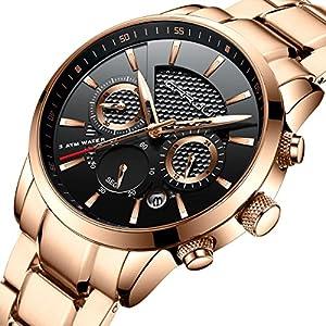 CRRJU Brand Fashion Men's Rose Gold Business Casual Stainless Steel Strap Quartz Waterproof Wrist Watch