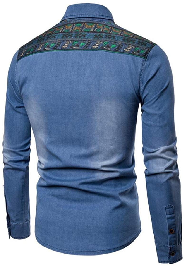 M/&S/&W Mens Leisure Denim Long Sleeve Embroidered Slim Button Down Dress Shirts