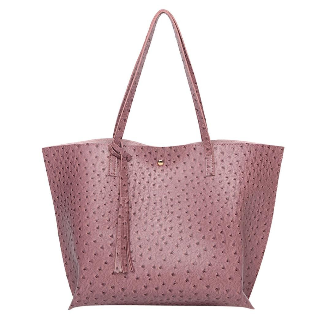 PU Leather Bag, Large Everyday Shoulder Bag for Work, Shopping, Gym or Travel - 14.17x 4.33x11.81Inches (Purple)
