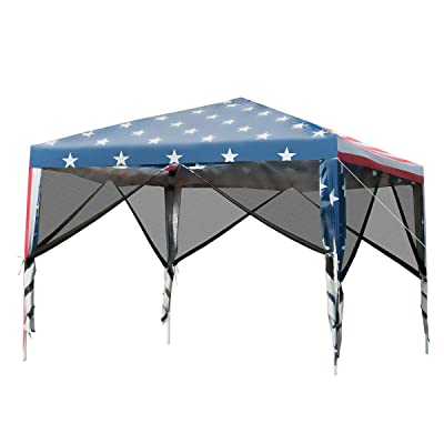 Outdoor 10' x 10' Pop-up Canopy Tent Gazebo Canopy Home Garden Lawn Living Outdoors Structures Canopies Shade House Décor Yard Awnings Marquees, Tents, Baldachin, Baldaquin, Balcony, Backyard, Patio. : Garden & Outdoor