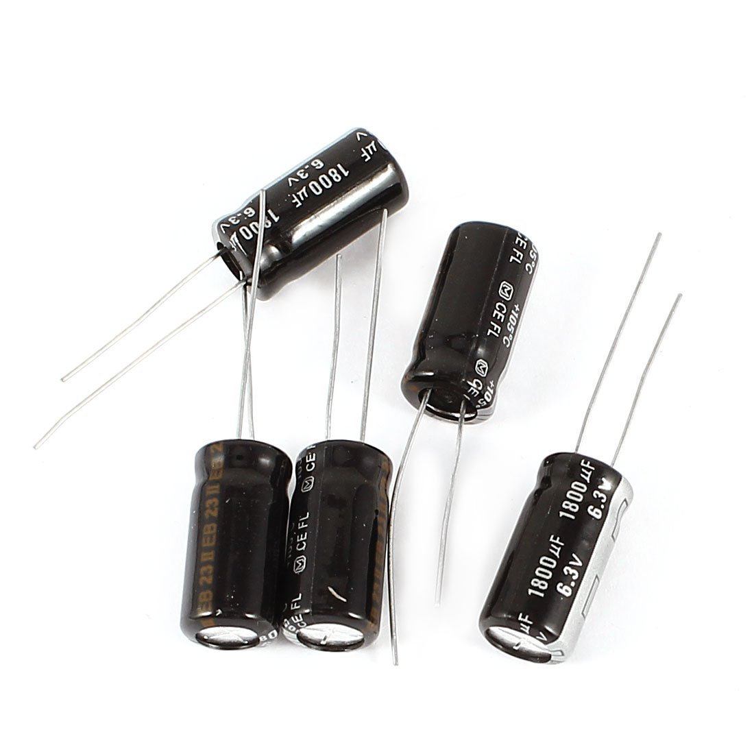 Uxcell a14061600ux0612 5 Piece 1800uF DC 6.3V Radial Electrolytic Capacitor, 8 x 16 mm