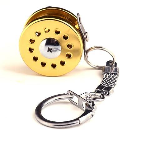 Carrete de pesca miniatura llavero clave Anillo Cadena (oro ...