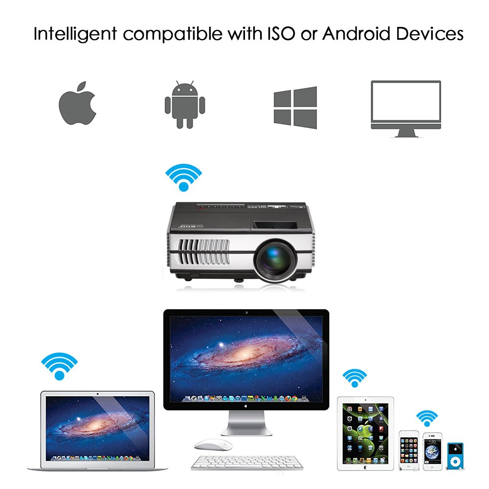 Portable Pico Mini LED Projector - Wireless WiFi Home Theater Cinema 1080P Video Games Outdoor Party Small Beamer Proyector Including USB HDMI VGA AV, 3.5mm Audio Jack by EUG (Image #4)