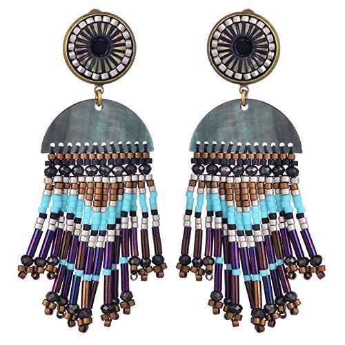 BeadChica Handmade Boho Beaded Earrings for Women Tassel Beadwork Jewelry (Color 1)
