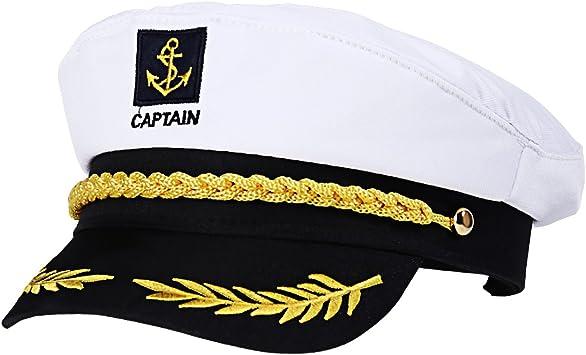 Amosfun Capitán Adulto Sombrero de Cosplay Gorra Yate Barco ...