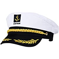 Amosfun 2Pcs Adult Yacht Boat Ship Sailor Captain Costume Hat Cap Navy Marine Admiral (White)