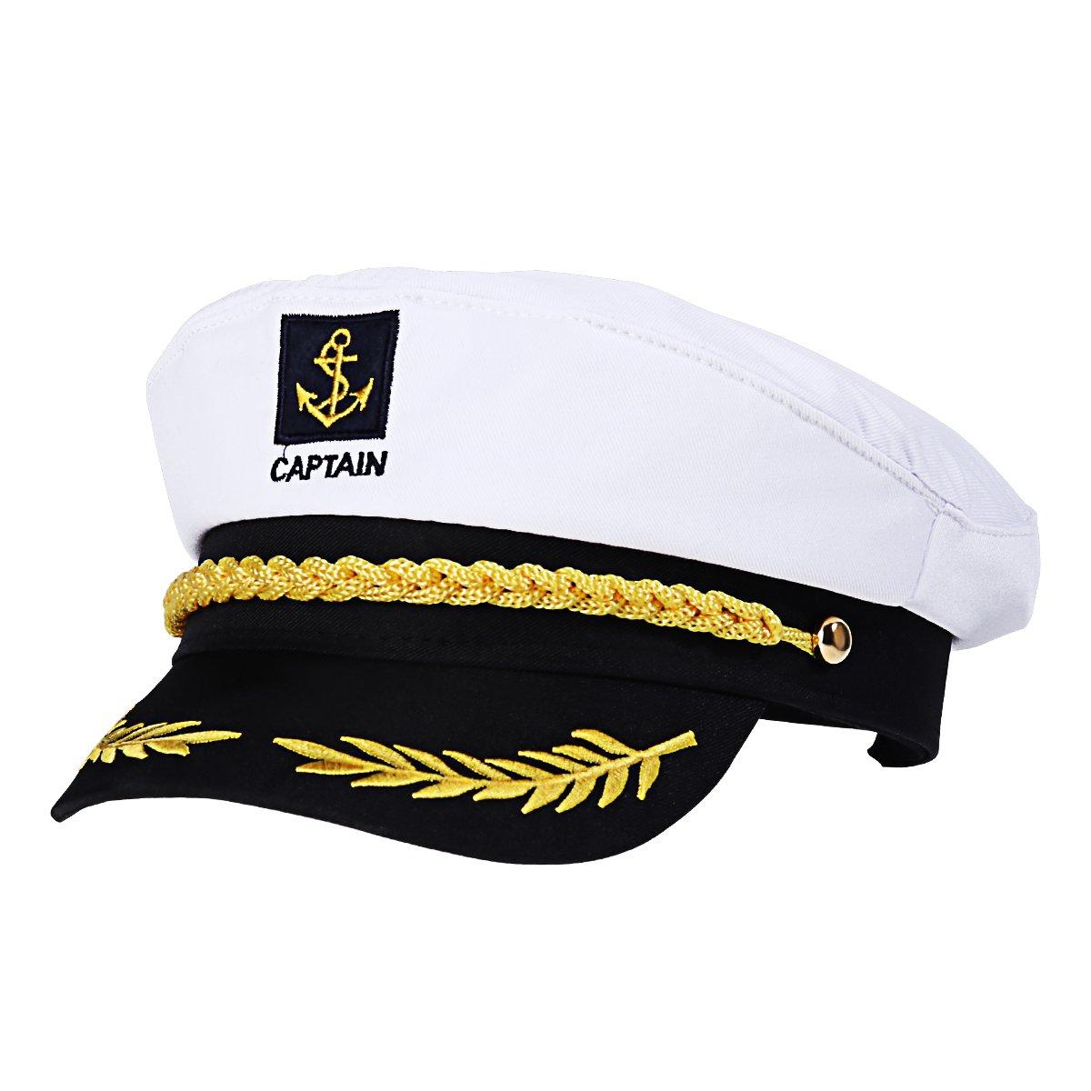 Amosfun Capitán Adulto Sombrero de Cosplay Gorra Yate Barco Navegante Marinero Almirante Marino (Blanco)