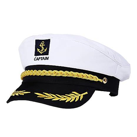 Amazon.com: Amosfun Adult Captain Cosplay Hat Cap Yacht Boat Ship Sailor Navy Marine Admiral (White): Clothing