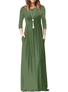 ReoRia Women s 3 4 Sleeve Loose Plain Maxi Dresses Casual Long Dresses with  Pockets 6e1e2ede482e