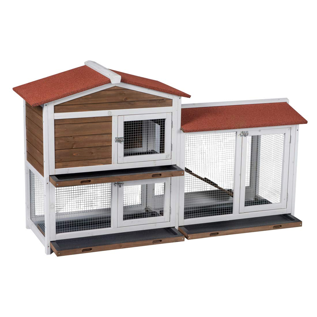 Good Life Two Floors Wooden Outdoor Indoor Roof Waterproof Bunny Hutch Rabbit Cage Guinea Pig Coop PET House for Small to Middle Animals with Stairs and 3 Cleaning Tray by GOOD LIFE USA
