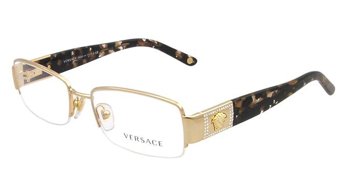 versace ve 1175b eyeglasses w gold frame and non rx 51 mm diameter lenses