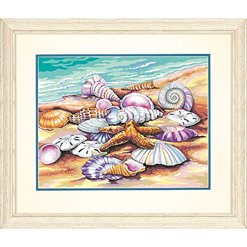 - Dimensions 73-91526 Seashells on The Beach Paint by Numbers for Adults, 14'' W x 11'' L, None