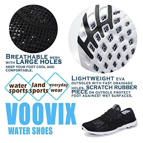 VOOVIX Männer Wasser Schuhe Leichte Quick Dry Rutschfeste Atmungsaktive Athletische Aqua Turnschuhe Schwarz