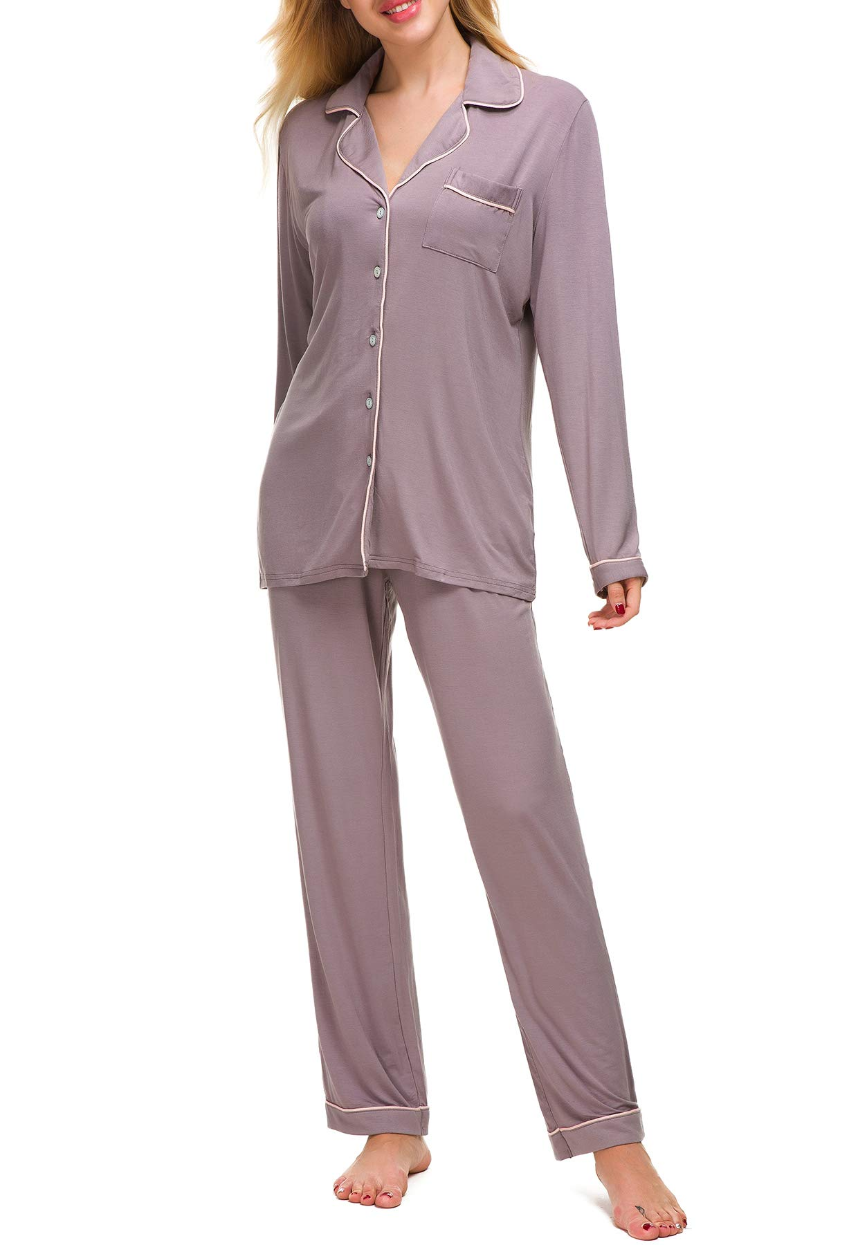 Aviier Long Sleeve Pajamas for Women Cotton Lounge Sleepwear X-Large (Gray, XL)