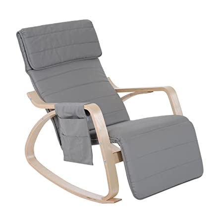 HOMCOM Wooden Rocker Rocking Lounge Chair Recliner Relaxation Lounging  Relaxing Seat With Adjustable Footrest U0026 Side