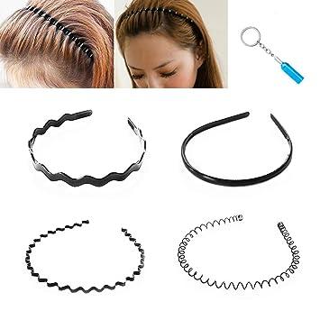 Schwarz Metall Sports Haarband Stirnband Welle Alice Stil Unisex Männer Frauen