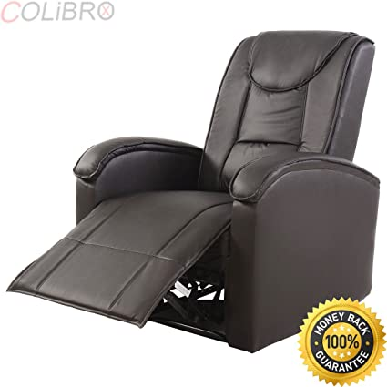 Bon COLIBROX  Ergonomic Sofa Chair Recliner Lounge Deluxe PU Leather Home  Furniture Brown New.