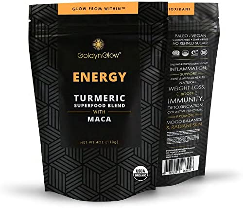 GoldynGlow ENERGY - Organic Turmeric Superfood Blend w MACA, Helps with Adrenal Health and fatigue. Golden Milk Elixir, Mix in Juice and Smoothies. Non-GMO, Vegan, Gluten-Free Adaptogen - 25 Servings