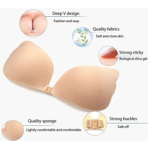 6394cb60bc0b1 MITALOO Wing Shape Self Adhesive Backless Push up Plunge Bra Sticky  Invisible Strapless Bra with Buckle (Nude