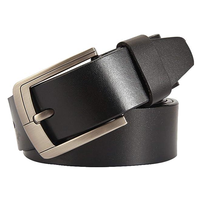 Amazon.com: Cinturones de piel de vaca clásicos hechos a ...