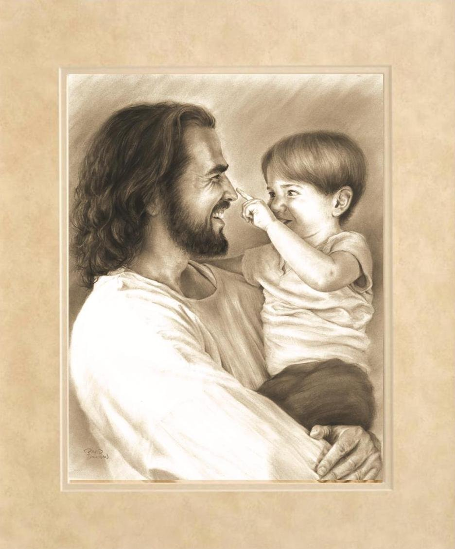 David Bowman Innocence Wall Art Print Jesus Christ Holding Child Religious Spiritual Christian Fine Art 15 x19 Black Framed