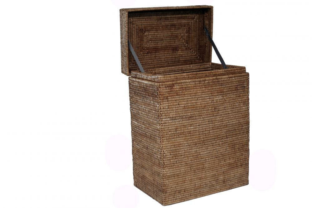 Artifacts Trading Company Rattan Rectangle Hamper with Hinged Lid, 18'' L X 12'' W X 24'' H