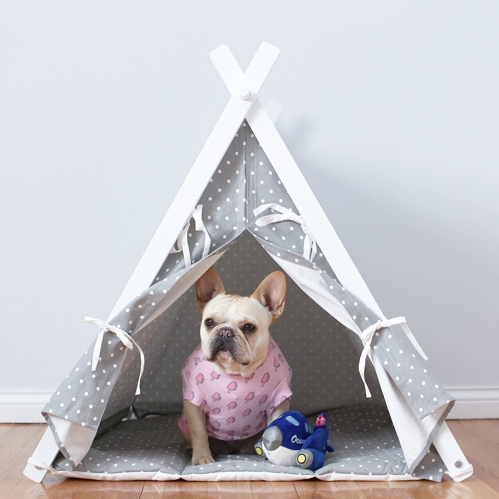 little dove Dog Teepee Large Pet Tent Furniture Cat and Dog Bed With Pad 35 Inch Grey Cover and Grey Pad
