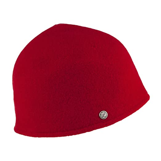 a0c71fcef59 Laulhere Hats Seine With Leather Bow Merino Wool Cloche - Red 1-Size   Amazon.co.uk  Clothing