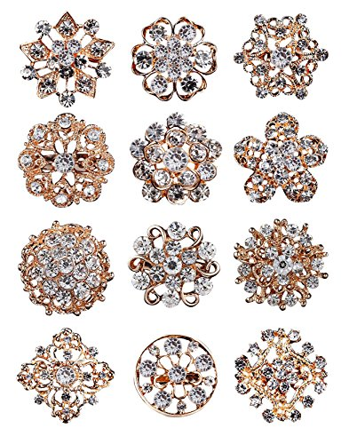 L'VOW 12px Gold Silver Crystal Button Brooches Scarves Buckle Floriated Brooch Collar Pin Rhinestone Corsage Bouquet ()
