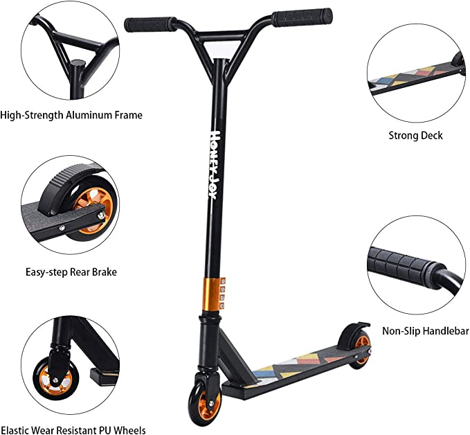 S AFSTAR Safstar Pro Stunt Scooter, Best Entry Level Kick Trick Scooter Lightweight Aluminum Freestyle with 2 Wheels, for Kids Age 7 Up Teenagers ...